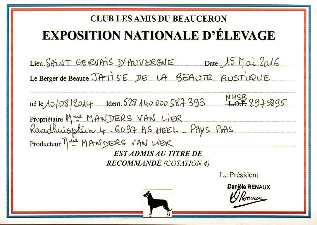 Jatise  behaald in Frankrijk haar Cotation 4